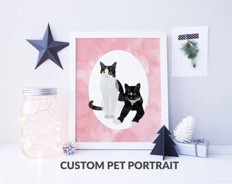 Custom Pet Portrait, TWO PETS, pet memorial, gift ideas, unique gifts, dog portrait, cat portrait, custom illustration, custom gifts