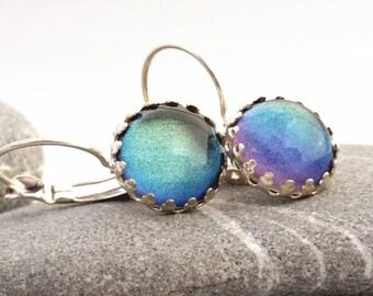 Pastel Rainbow Mist Earrings - Shimmer Pastel Leverback Earrings - Nail Polish Jewelry Style