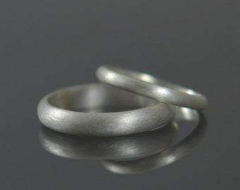 His and Hers Wedding Rings Recycled Silver Wedding Bands - Argentium Sterling Silver Half Round Ring Band Set Eco Friendly