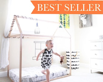 House bed, Wood Bed, Nursery, Twin, Toddler, Full, Crib, home, wooden, natural wood, modern, floor bed, Generation1 A Child's Nook House Bed