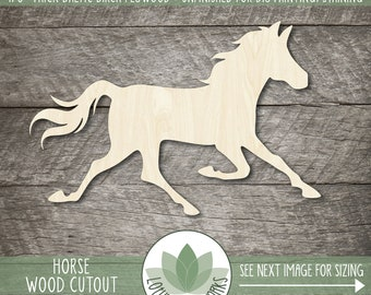 Wood Horse Shape, Blank Wood Cutouts, Wooden Running Horse Cutout, Unfinished Wood Shapes For DIY Projects, Farm Animal Wood Shapes