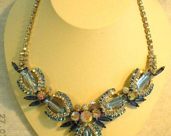 "Vintage Rhinestone Necklace with very unique design - fits up to 17""-excellent condition"