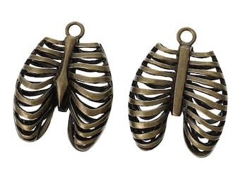 3 pcs. Antique Bronze Anatomical Organ Ribs Rib Cage Medical Charms Pendants - 40mm X 30mm - 1.57 in x 1.18 in - Anatomically Correct!