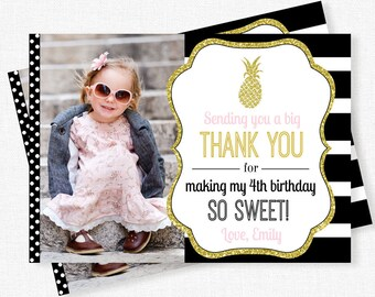 Pineapple Thank You Card, Photo Thank You Card, Pineapple Party Thank You Notes, Gold Glitter Pineapple, Personalized