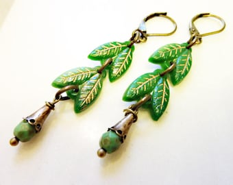 Art Deco Leaf Earrings, Vintage Czech Green Glass Beads, Gold Painted, Brass Bead Caps, Post Dangle