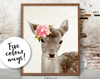 Nursery Wall Art Decor, Baby Deer Fawn Print, Woodlands, Watercolour Flower, Printable Pink Peach Yellow Mint Lavender, Shabby Cottage Chic