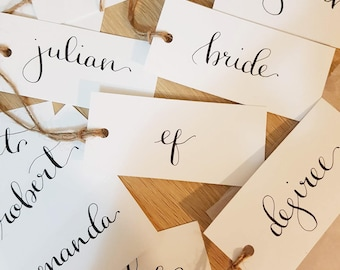 Wedding Favour Guest Name Tags, Modern Calligraphy place cards, gift tags, bomboniere tags