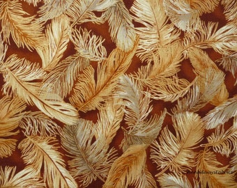 Feather Fabric, Robert Kaufman 13699 Crescendo, Studio RK, Metallic, Cream, Gray, Brown Feathers, Metallic Accents, Quilting Cotton,