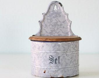 Vintage Enamel Sel Salt Box