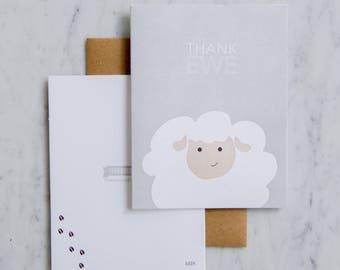Thank Ewe - Letterpress Thank you cards - Sheep