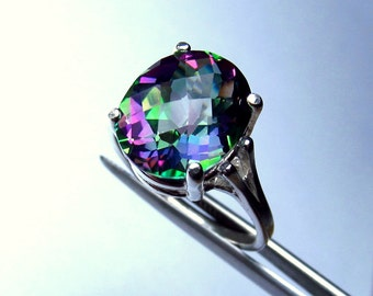 Exquisite Genuine Mystic Rainbow Topaz Checkerboard Oval in Sterling Silver Ring