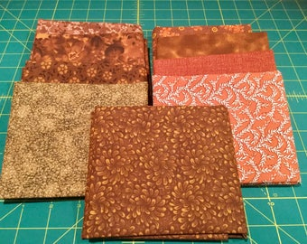 9 Fat Quarters Brown Coordinated Colors