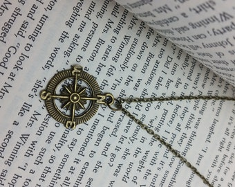 Vintage Brass Look Compass Charm Necklace