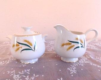 Antique Sugar and Creamer Set Wheat and Leaf Motif Gold Trim Retro Style Home Decor Simplistic Style