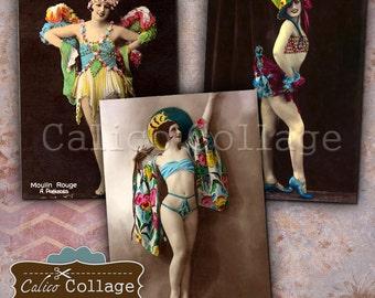 Burlesque Dancers, Digital Collage, Collage Sheet, 2.5x3.5 Inch Images, Junk Journal Tags, Digital ATC, Mixed Media Art, Printable Ephemera