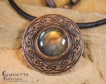 Labradorite Hammered Copper Necklace Pendant