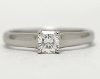 Tiffany & Co Engagement Ring Asscher Diamond Lucida Solitaire 0.39 F VVS1 3mm 2mm Tapered Band Original Box Certificate Lifetime Warranty