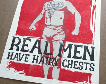 Real Men Have Hairy Chests, Sexy Men Print - Linocut Print