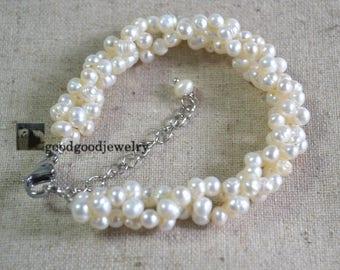 Pearl Bracelet - 5-6mm Freshwater Pearl Bracelet,white pearl bracelet,original bracelet,twisted pearl bracelet, wedding braccelet