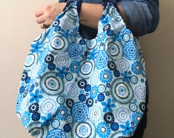 Light Blue Floral Foldable Bag