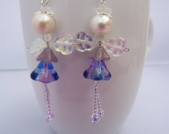 Purple flower fairies earrings