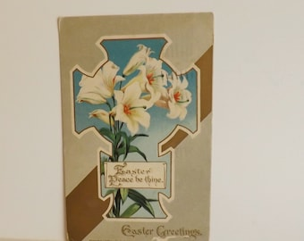 Antique Easter postcard Cross with white Easter lillies religious post card holiday card