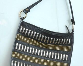 Vintage Leather Studded purse punk heavy metal 80s