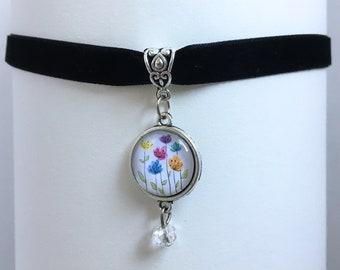 Whimsical Flower Doodles Pendant Black Velvet Ribbon Choker Necklace