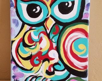 Handpainted Owl Art