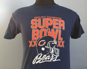 80s Vintage Chicago Bears 1985 Super Bowl XX NFC Champions 1986 nfl football T-Shirt - MEDIUM