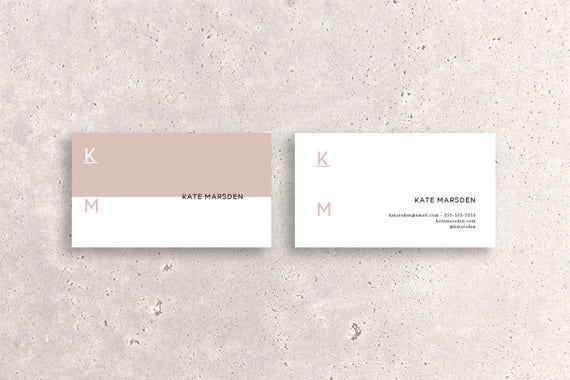Minimal Modern Pink Accent Double Sided Business Card Template