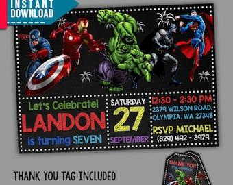 Superhero Invitation, Superhero Birthday, Superhero Party, Editable PDF Template, Instant Download, Editable Invitation, FREE Thank You Tags