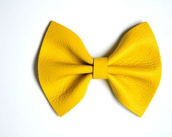 Canary YELLOW Leather Bow Beautiful Adorable Spring Summer Clip for Newborn Baby Little Girl Child Adult Photo Prop Pictures
