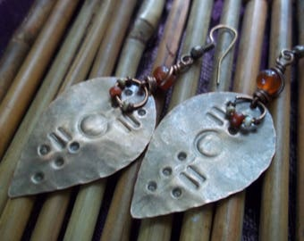 Copper Earrings-Tribal Earrings-Rustic Earrings-Bohemian Earrings-Carnelian Earrings-Handmade Artisan Earrings-Boho Jewelry