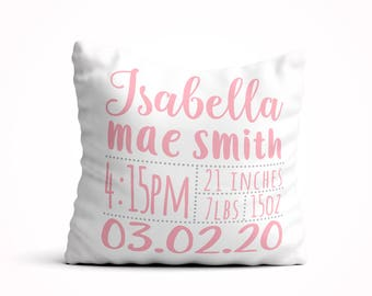 Personalized baby pillow etsy baby stats pillow birth announcement pillow nursery pillow new baby gift personalized custom name pillow custom baby shower gift negle Choice Image