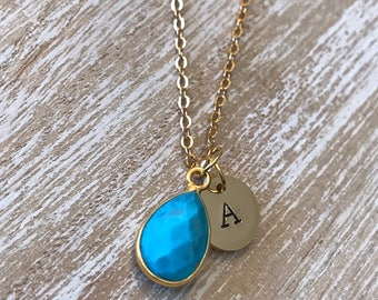 Turquoise necklace, initial birthstone Jewelry, december birthstone gift, personalized-gift, turquoise, necklace for mom, gifts for her
