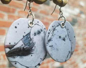 Winter Wonderland painted bird charm earrings -Hand-Painted Korean Crow Tit Portland Oregon - L'il Lard Butts