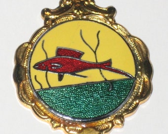 Vintage English Fishing Medal or Pendant Enamel on Gold Metal