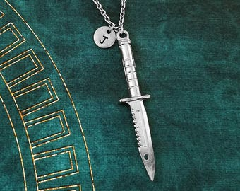Knife Necklace Dagger Necklace Combat Knife Charm Necklace Military Survival Knife Pendant Necklace Personalized Tactical Hunting Knife Gift