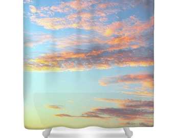 PAINTED SKY Original Photo Printed Shower Curtain Bath Decor Colorful Clouds Sky Blue Gold Yellow Teal Sunrise Clouds and Sky
