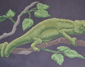 Chameleon - FINISHED Counted Cross Stitch