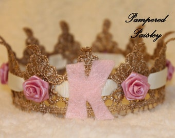 Lace Crowns, Princess crown, personalized crown,  Gold Crown, Crown with flowers, Birthday Crown, Photo Prop Crown, Baby Lace Crown