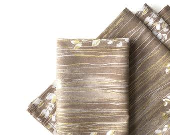 Large Cloth Napkins, Set of 4 - Zephyr Taupe Sprigs Stripe, Modern, 100% Cotton