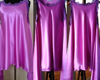 Lingerie Purple Bridal Nightgown -  Lavender Nightgown with Lace trim- Satin Full Sweep Sleepwear  Plus Size