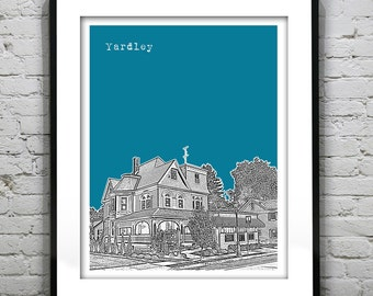 Yardley PA Poster Print Art Pennsylvania Skyline Historic district Version 3