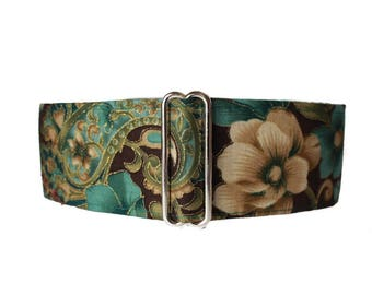 Teal Martingale Collar, 2 Inch Martingale Collar, Floral Martingale Collar Greyhound, Floral Dog Collar, Huggable Hound Dog Collars