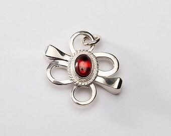 Flora Pendant | Floral Silver Pendant | 4 Leaf Clover Charm | Lucky Clover Pendant | Horseshoe Nail Jewelry |Garnet January Birthstone Charm