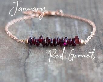 Garnet Bracelet, January Birthstone Bracelet, Crystal Bracelet, Raw Stone Bracelet, Gemstone Jewelry, Birthday Gift for Her, Chakra Jewelry