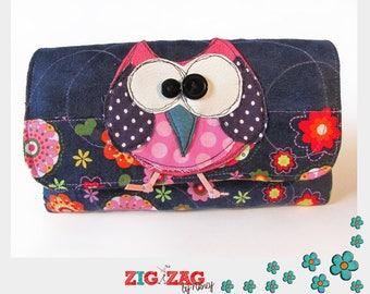 """OWL"" night blue (20x10cm) phone or glasses case"
