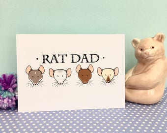 Rat dad greeting card, Father's Day, A6, 300gsm card, blank inside, white envelope, fun, fancy rat lover gift card